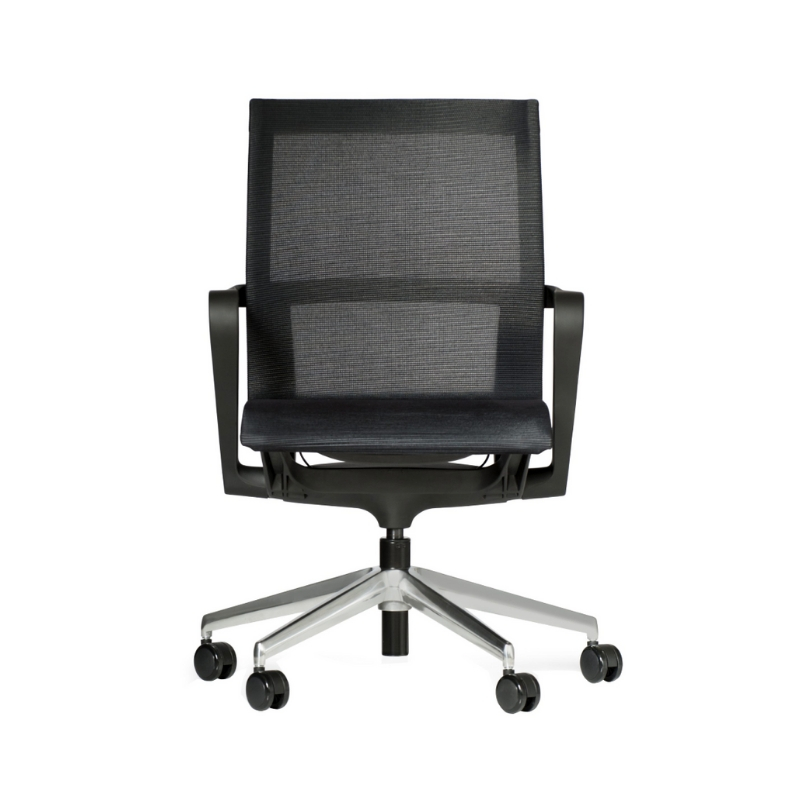 Vega Meeting Chair with fixed arms_polished base