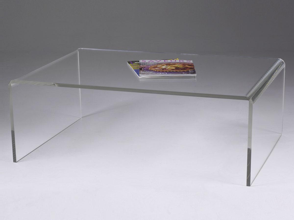 table basse de salon en plexiglas