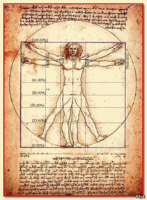 витрувианский человек - модель вселенной, созданная по законам последовательности Фибоначчи - золотое сечение
