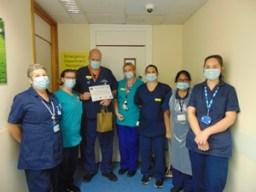 The Minor Injury Unit team with Matron Nigel Booth and LDL nurses Natasha and Lesley