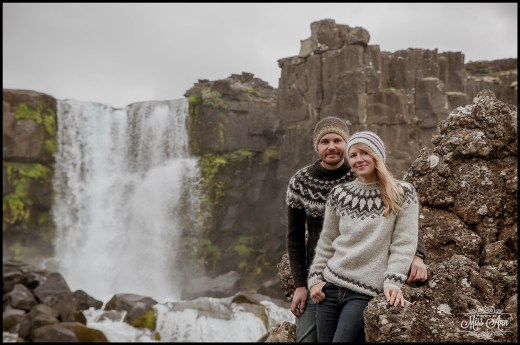 Iceland Engagement Session Oxararfoss Waterfall Thingvellir