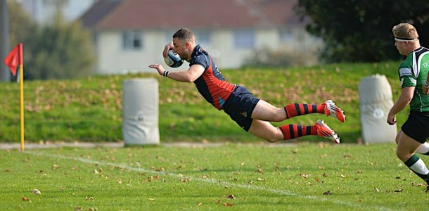 Devonport Services score a try in their Devon Intermediate Cup match against Sidmouth on Saturday (picture by Mark Andrews)