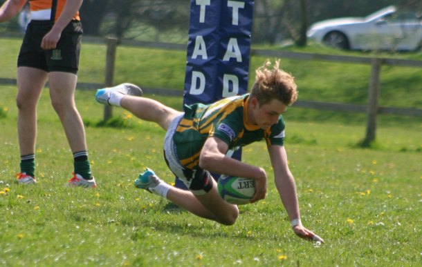 Plymouth Albion Oaks' colts in action at the Plymouth Combination Sevens event at Horsham Fields