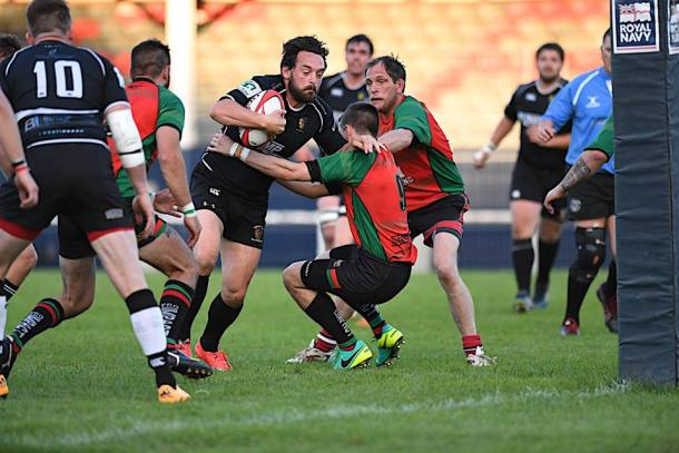 Tamar Saracens defend against National Three South West side Brixham (picture by Mark Andrews)