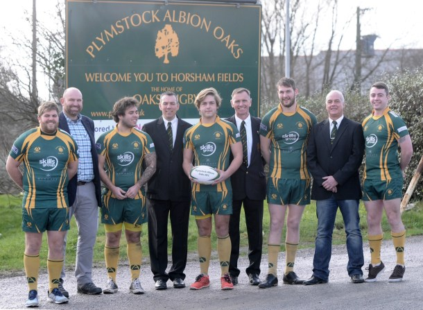 Nigel Higginson (fourth left) with members of Plymstock Albion Oaks. (picture courtesy of Plymstock Albion Oaks)