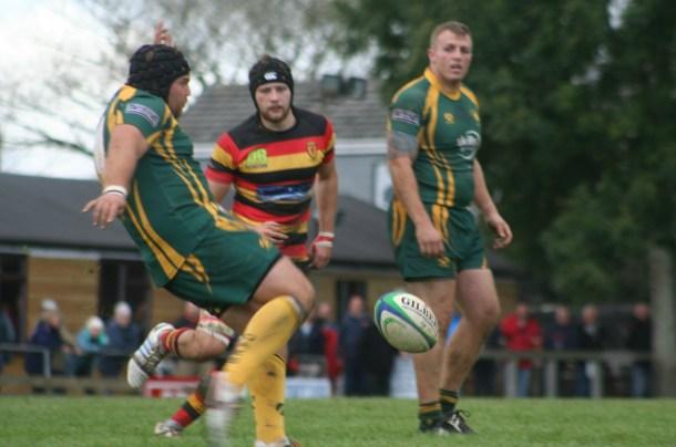 Richard West kicks clear for Plymstock Albion Oaks against Saltash