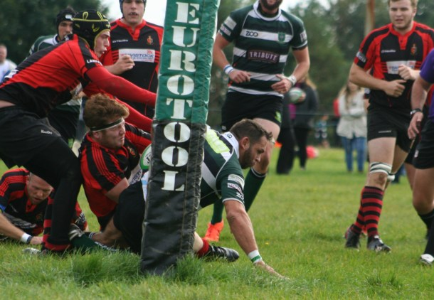 Ryan Chivers goes over for a try for Plymouth Argaum