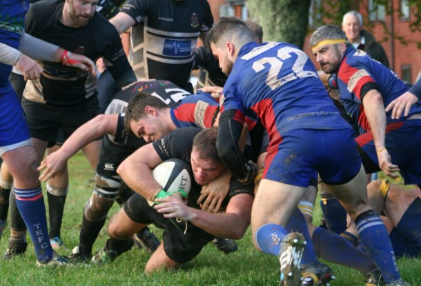 MATCH WINNER: Bryan Milford goes over for Old Techs winning try against Totnes