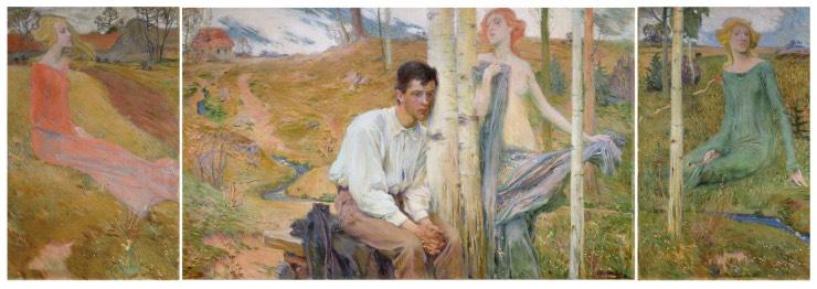 Jan Preisler, Jaro, 1900, olej, plátno, triptych 112×70, 112×186, 112×70 cm, Západočeská galerie vPlzni, O 897. Fotografie © Západočeská galerie vPlzni.