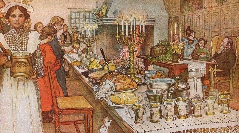 Štědrovečerní hostina 1904, kresba od Carla Larssona