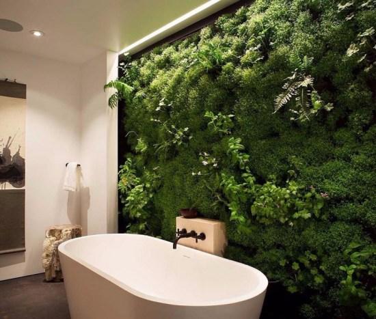 Živá zelená stěna vkoupelně