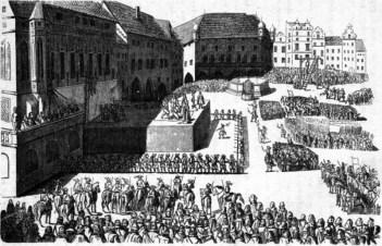 Zaplněné Staroměstské náměstí v den exekuce