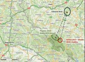 Mapa migrace rysa Fabiána