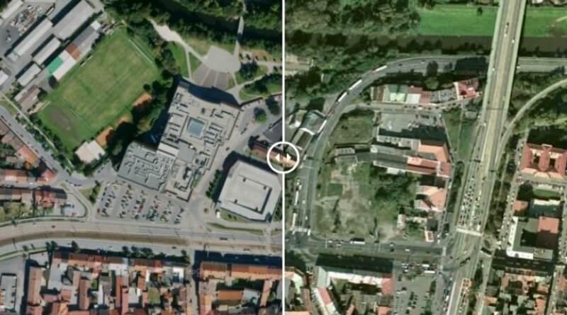 letecký snímek Plzně