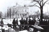 Odvádění Židé ze Sokolovny ve Štruncových sadech