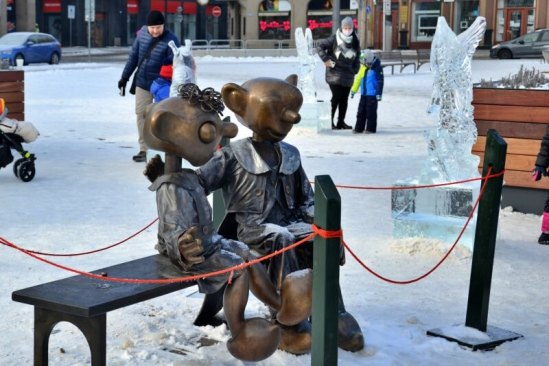 Ledové sochy na náměstí Republiky vPlzni 2021