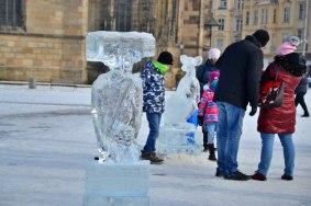 Ledové sochy na náměstí Republiky v Plzni 2021