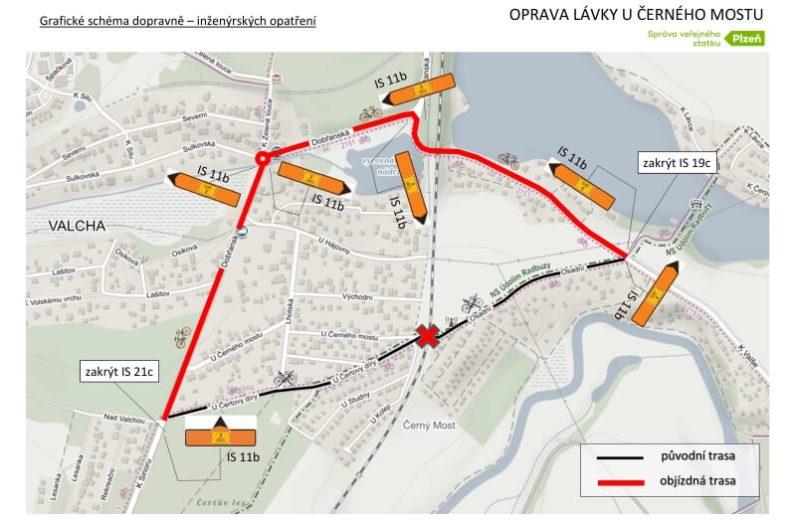 Objízdné trasy Lávka U Černého mostu DIO-1