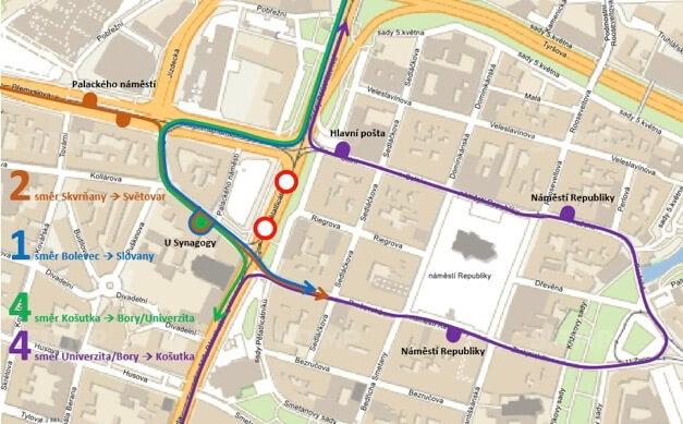Mapa odklonu tramvajových linek