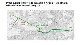 Mapa linky 11 od 1. září 2021