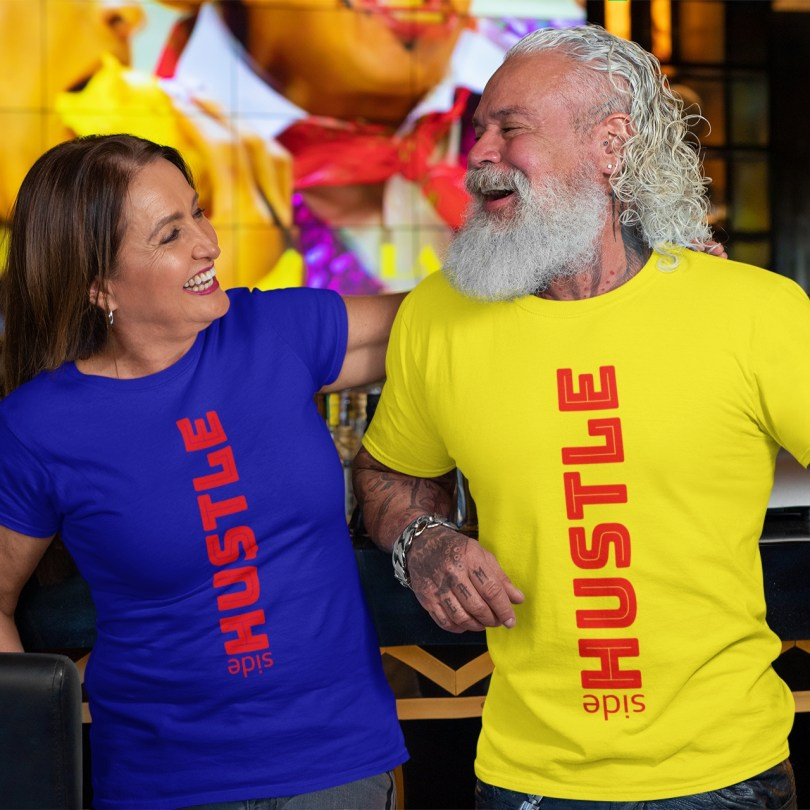 merch placement of couple wearing sidehustle tee shirts