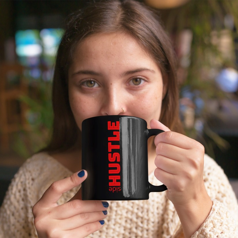 merch placement of girl with sidehustle mug