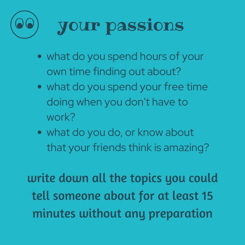 list your passions