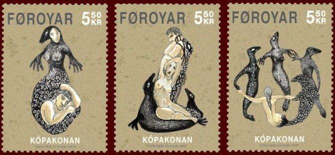 Faroese stamps depicting selkies