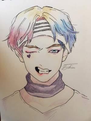 bts easy drawing anime quinn harley drawings draw sketches taehyung sketch kpop cool jungkook cartoon army realistic simple byuntae husband