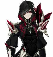knight in red black armor anime
