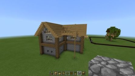 minecraft cottage cozy stone front