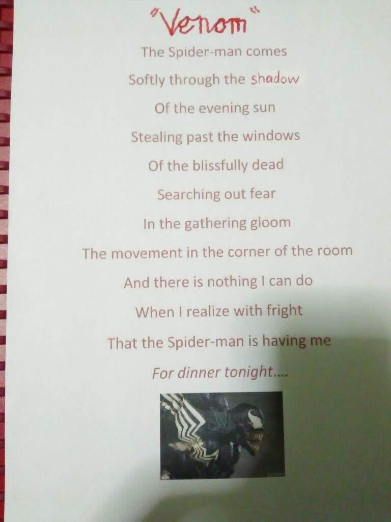 Spider Man Poem : spider, Venom, 🕸Webslinger, Amino🕸, Amino