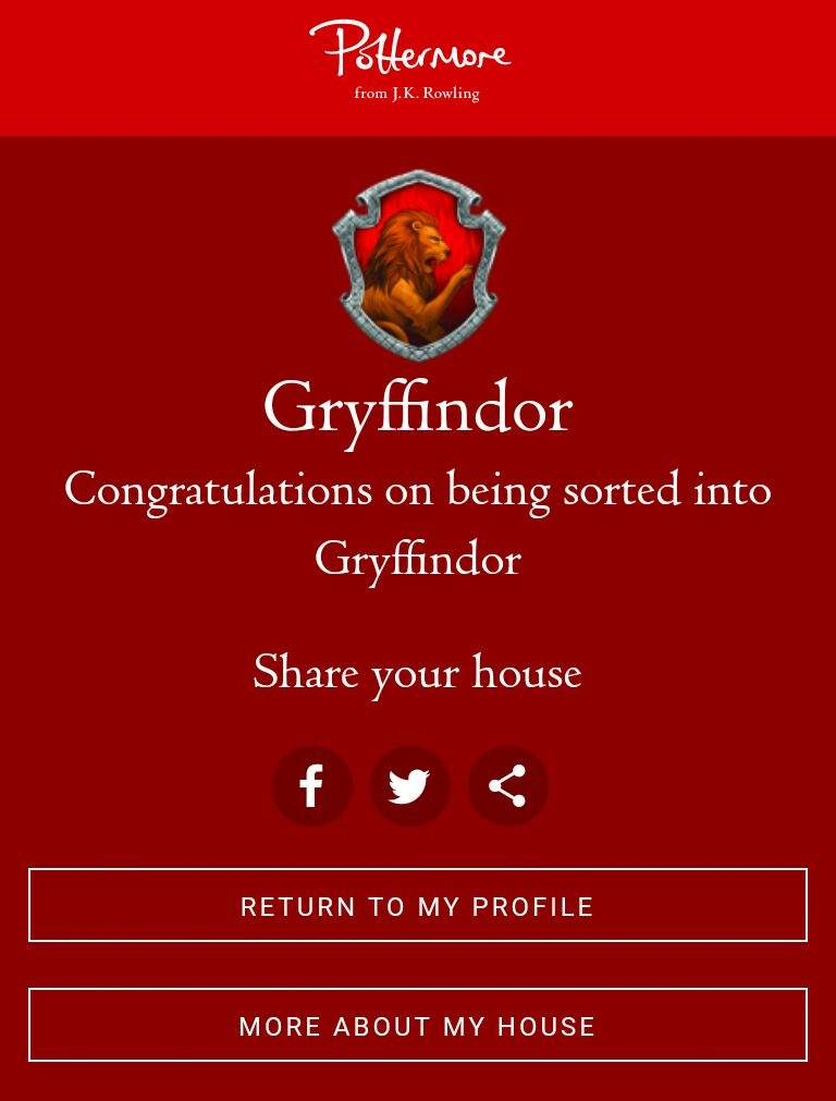 This simple Harry Potter House Quiz is only two questions long