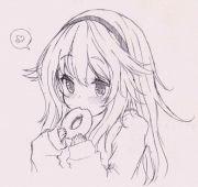 cute girl eating cutie