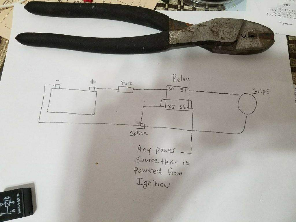 hight resolution of basically make 2 leads one as a power source to the relay from the battery the proper way to direct wire heated grips