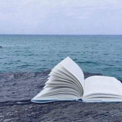 aesthetic books ocean background light profile pastel sea bleu pink reading wallpapers pale brown glow yellow backgrounds alone favim read
