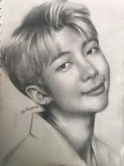 drawing of kim namjoon rm