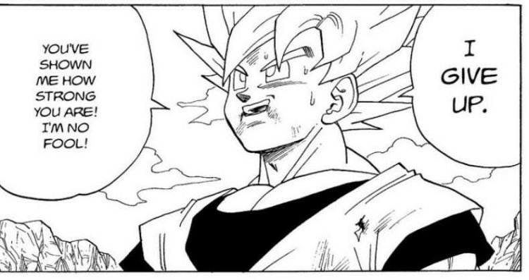Risultato immagini per goku gives up against cell