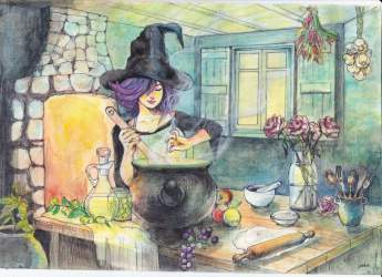 Witchcraft Kitchen Witch Drawing