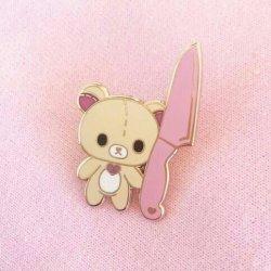 pink pastel aesthetics yandere bear knife aesthetic pins enamel kawaii storenvy clothes uploaded heo moodboard hyunjoon curl basura gang patches