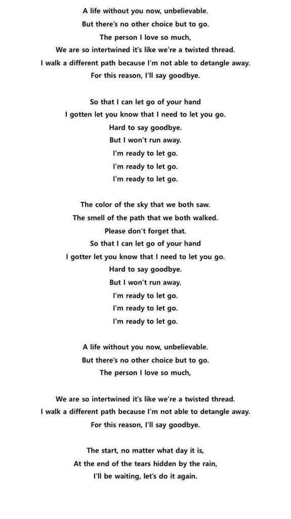 Lirik Lagu Let Go Bts : lirik, Lyrics, Center:, English