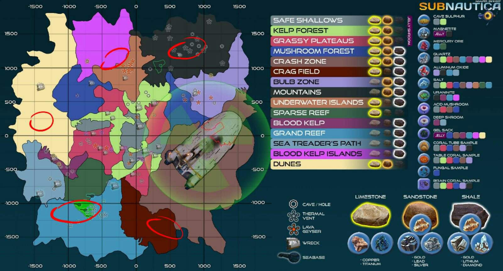 Life Pod Subnautica Locations Map