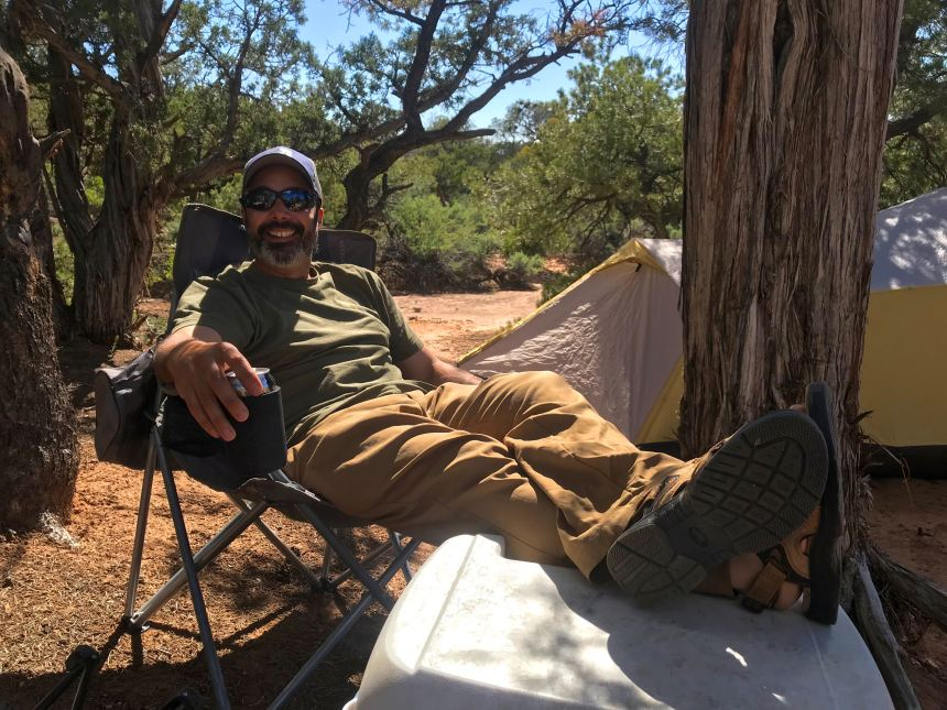 Kicking back in Navajo National Monument the night before our backpacking trip. PCO Joan