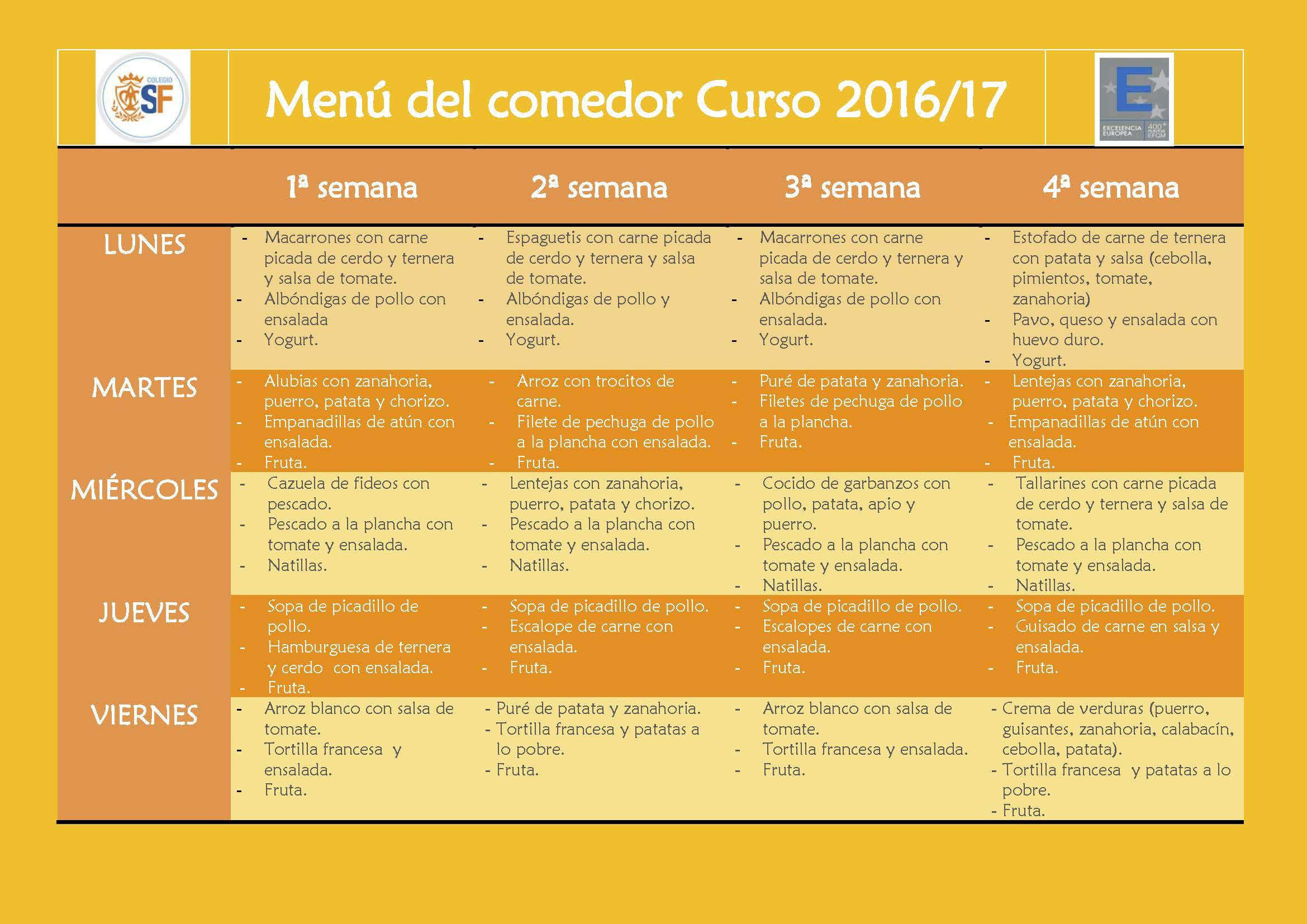 Menú comedor 2016-17 - Colegio Sagrada Familia. Pureza de María