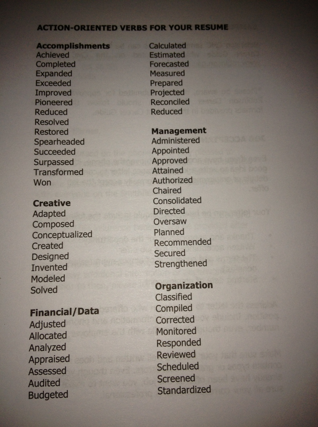 Resume Action Verbs Boston College