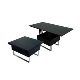 table basse relevable multifonction woods laque noir