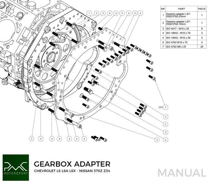 PMC Motorsport Adapter Kit Chevrolet V8 LS LS1 LS3 LS7