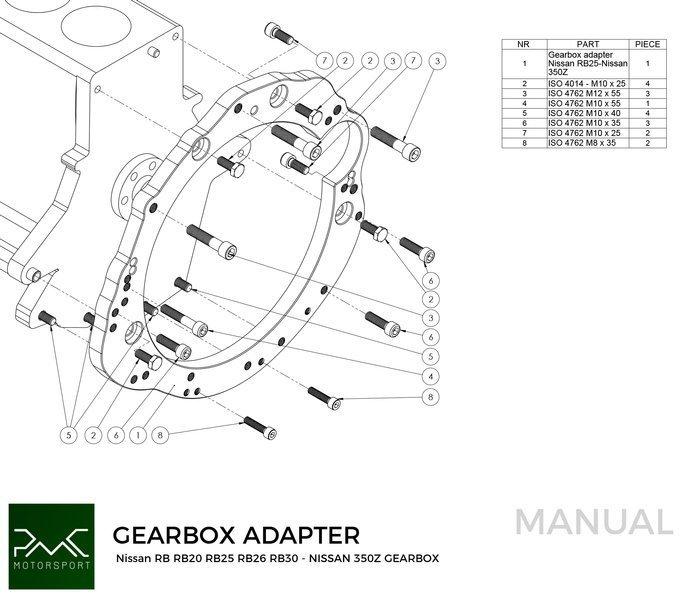 PMC Motorsport Adapter Kit Nissan RB RB20 RB25 RB30