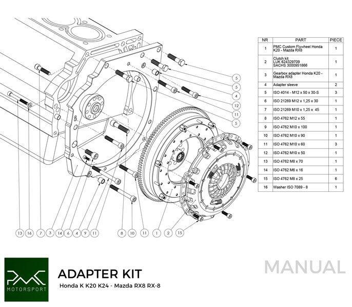 PMC Motorsport Gearbox Adapter / Adaptor Plate Honda K K20
