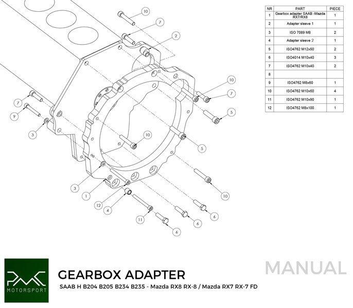PMC Motorsport Gearbox Adapter / Adaptor Plate Saab H B204